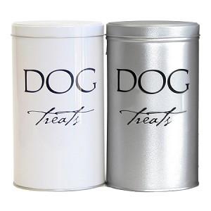 Dog Treat Canisters - Silver & White