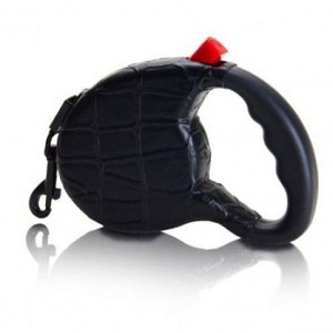 Haute Retractable Dog Leash- Black Croc