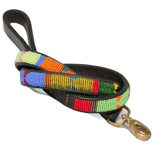 Handmade African Beaded Leather Leash- Hippo Circus