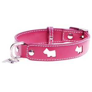 Terrier Leather Dog Collar - Hot Pink and White