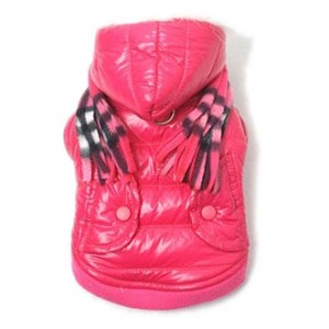 Hot Pink Waterproof Dog Parka with Scarf