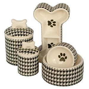 Houndstooth Collection Dog Bowls & Treat Jars