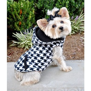 Houndstooth Reversible Dog Fleece Hoodie