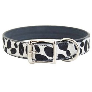 Hudson Bay Nubuck Leather Dog Collar - Snow Leopard