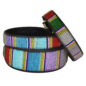 Handmade African Beaded Leather Dog Collar - Bijou