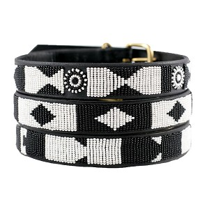 Handmade African Beaded Leather Dog Collar- Ebony & Ivory