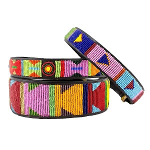 Handmade African Beaded Leather Dog Collar - Hippo Circus