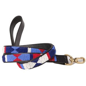 Handmade African Beaded Leather Leash- Red White Blue