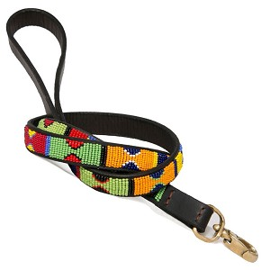 Handmade African Beaded Leather Leash- Primary Colors