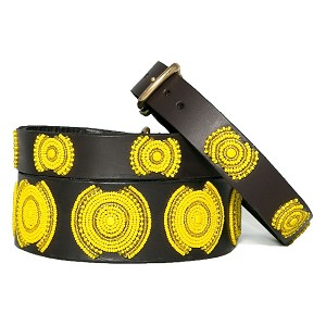 Handmade African Beaded Brown Leather Dog Collar - Sunshine