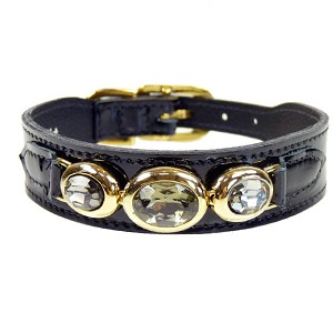 Regency Italian Patent Leather Triple Swarovski Crystal Dog Collar - Black