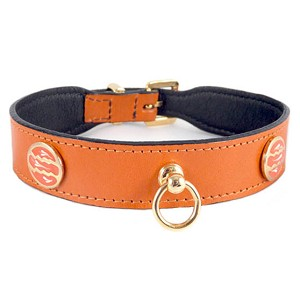 St. Tropez Italian Leather Dog Collar - Tangerine