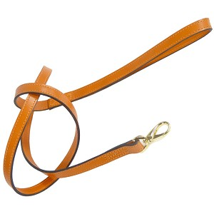 Italian Leather Classic Dog Leash by Hartman & Rose- Tangerine