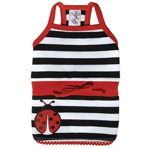 Lucky Lady Bug Striped Dog Dress
