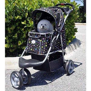 Luxury Monogram First Class Sporty Dog Stroller- Black