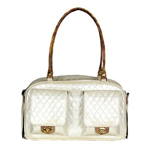 Marlee Quilted Dog Carrier- Ivory and Snake