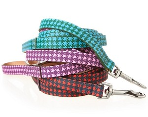 Leather Houndstooth Dog Leash