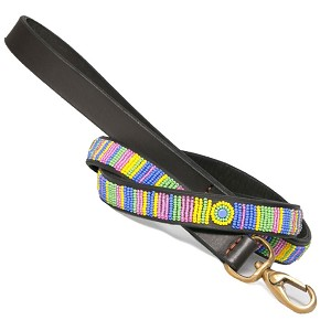 Handmade African Beaded Leather Leash- Meadow