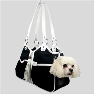 Metro Carrier with Tassel- Black and White