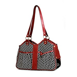 Metro Classic Italian Leather Dog Carrier by PETote - Reverse Noir Dots and Red