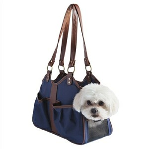 Metro Classic Dog Carrier by PETote - Navy and Tan