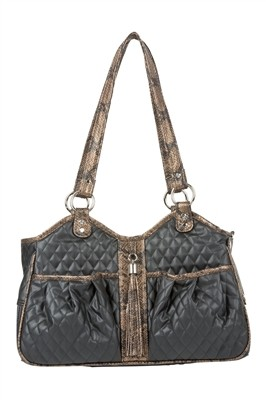 Metro Quilted Luxe Dog Carrier- Black and Snake