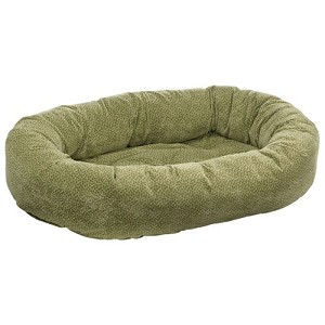 Microvelvet Donut Dog Bed - Green Apple Bones