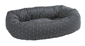 Microvelvet Donut Dog Bed- Cosmic Grey Jacquard
