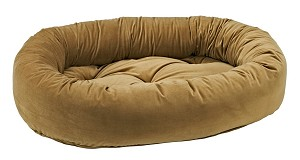 Microvelvet Donut Dog Bed- Toffee