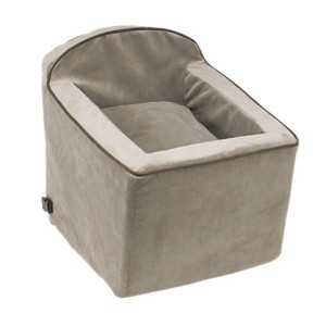 Microvelvet Car Booster Seat for Dogs - Taupe