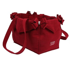 Nouveau Bow Dog Carrier by Susan Lanci- Burgundy
