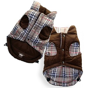 Nova Plaid Reversible Puffer Dog Jacket