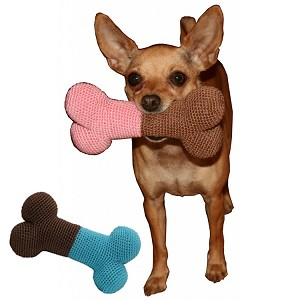 Organic Cotton Knit Bone Dental Dog Toy- Pink and Blue