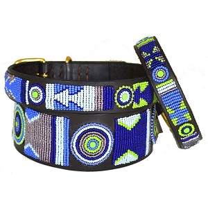Handmade African Beaded Leather Dog Collar - Passion Flower