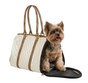 Quilted JL Duffel Dog Carrier- Ivory and Snake