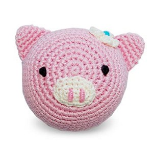 Pink Piggy Cotton Knit Dental Dog Toy