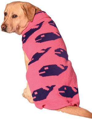 Pink Whales Dog Sweater