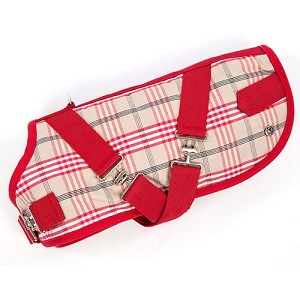 Plaid Horse Blanket Dog Coat- Red