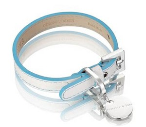 Polo Leather Dog Collar - Blue/White