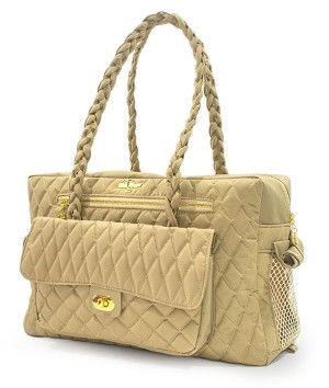 Porsha Quilted Dog Carrier- Tan