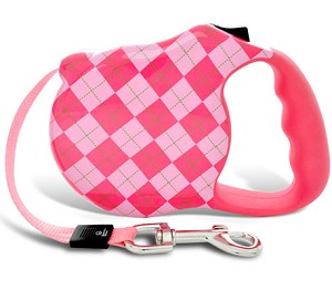 Prep School Pink Argyle Retractable Dog Leash
