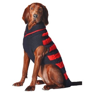 Red and Navy Rugby Dog Sweater