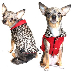 Red Leopard Reversible Puffer Dog Jacket