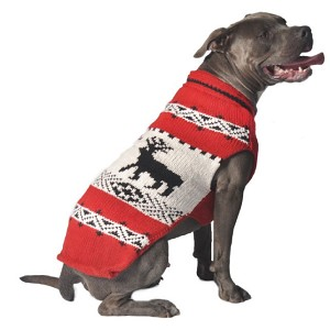 Red Reindeer Shawl Dog Sweater by Chilly Dog