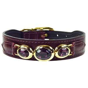 Regency Italian Leather Triple Swarovski Crystal Dog Collar - Bordeaux