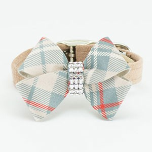 Scotty Plaid Nouveau Bow Collar- Fawn