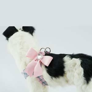 Scotty Plaid Tail Bow Step-In Harness- Puppy Pink