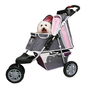 First Class 3-Wheeled Sporty Dog Stroller- Pink