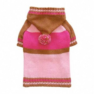 Sporty Pompom Dog Sweater - Pink