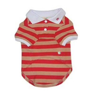 Classic Striped Dog Polo Shirt- Red